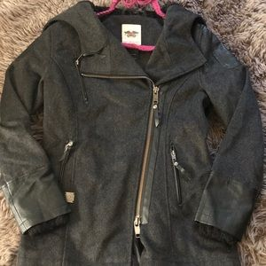 Harley Davidson Wool Blend Hooded Pea Coat